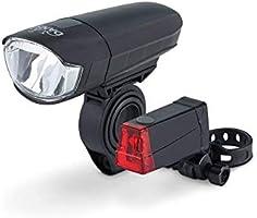 DANSI Fahrrad-Batterie-Leuchtenset, StVZO-Zulassung, LED Fahrradbeleuchtung, Set mit Vorder- und Rücklicht, umschaltbar...