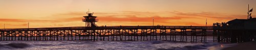 The Poster Corp Richard Cummins/Design Pics - San Clemente Municipal Pier In Sunset Panorama; San Clemente City Orange County Southern California Usa Photo Print (111,76 x 22,86 cm)
