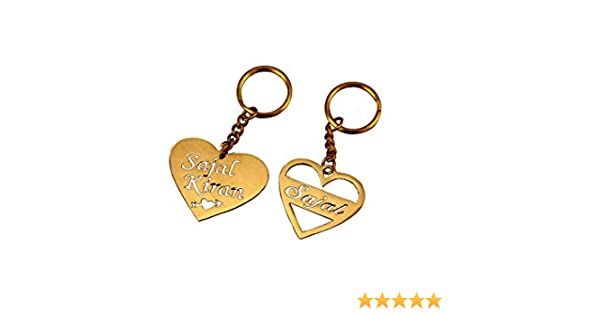 Sajal Personalized Brass Key Chain with Your Name Or Couple Name Inside  Heart