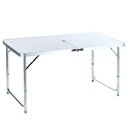 Ancheer 4FT Aluminum Portable Folding Utility Table with Carrying Handle for Kitchen Garden Party Picnic Camping, White