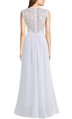 REPHYLLIS Damen Vintage Chiffon Hochzeit Brautjungfer Lang Spitzenkleider Abendkleider Weiss-1