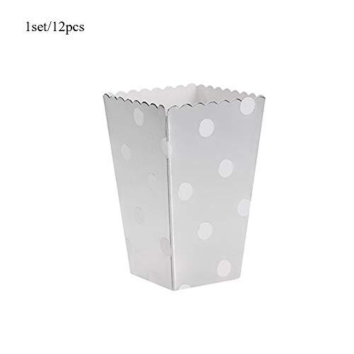 FGRYB Pappe Faltbare Popcorn-Boxen für Party Kino Snack Container, 12st Papery Folding Süßigkeit Süßigkeiten-Beutel für Hochzeit Geburtstag Party Supplies (Silber dot)