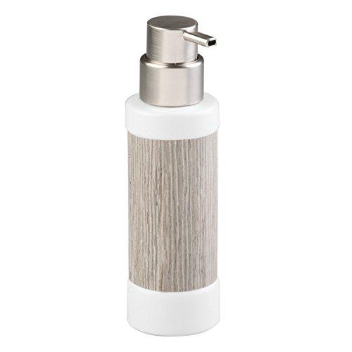 mDesign Dosificador de jabón recargable - elegante dispensador de jabón de cerámica de alta calidad con madera gris y acero inoxidable - con 340 ml de capacidad - para cocina y baño