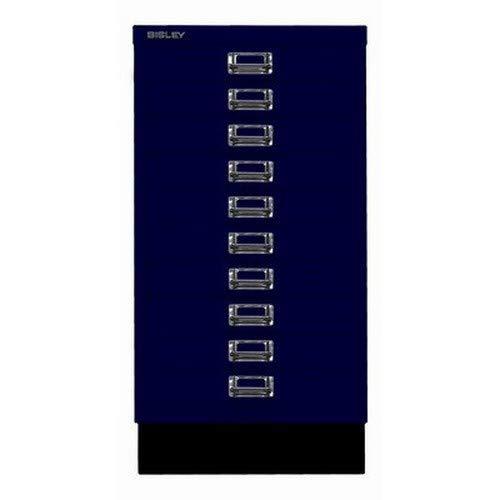 BISLEY MultiDrawer, 29er Serie mit Sockel, DIN A3, 10 Schubladen, Metall, 639 Oxfordblau, 43.2 x 34.9 x 67 cm