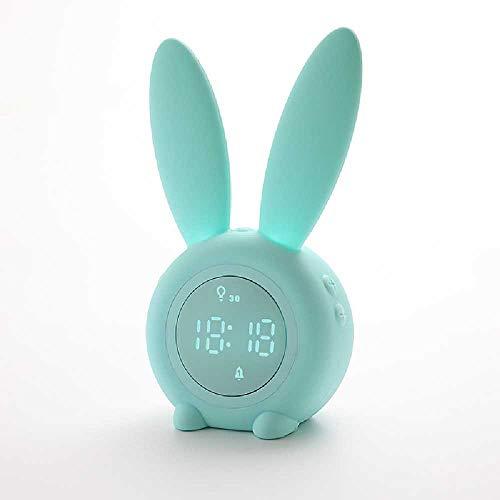 Hlhsm Ein Comic-Kaninchen-Wecker, Ein Süßer Hase-Wecker, Ein Weckruf, Ein Nachtlicht, Ein Kreativer Wecker. 0, 5 W/Grün