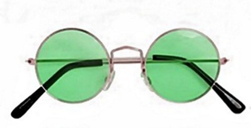 Men Womens Round Hippy Hippie 60s 70s John Lennon Ozzy Metal Glasses Fancy Dress GREEN by Star55 (John Lennon Fancy Dress Kostüm)