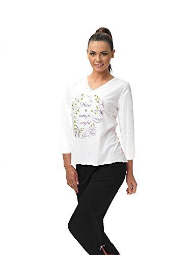 e.FEMME® Damen Schlafanzug Nina II 688 mit 3/4 Ärmeln, 7/8 Hose, 96% Viskose + 4% Elasthan, ecru/limone oder ecru/lachs, verschiedene Größen Ecru/Limone/Anthrazit