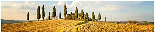 (Wallario Küchenrückwand aus Glas, in Premium Qualität, Motiv: Italien - Toskana unter blauem Himmel einsame Farm | Spritzschutz | abwischbar | pflegeleicht)