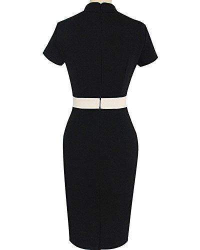 Femme Elégant Slim Robe Crayon Manches Courtes Robe de Soirée Cocktail Noir