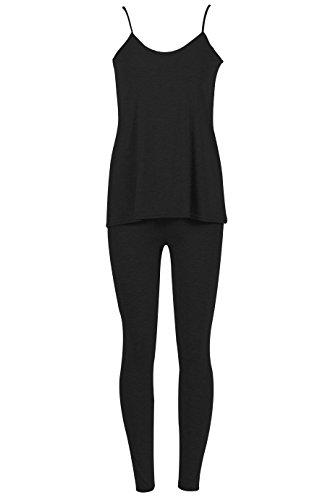 Damen Hemdchen Legging 2 Peice Lounge Anzug EUR Größe 36-42 Schwarz
