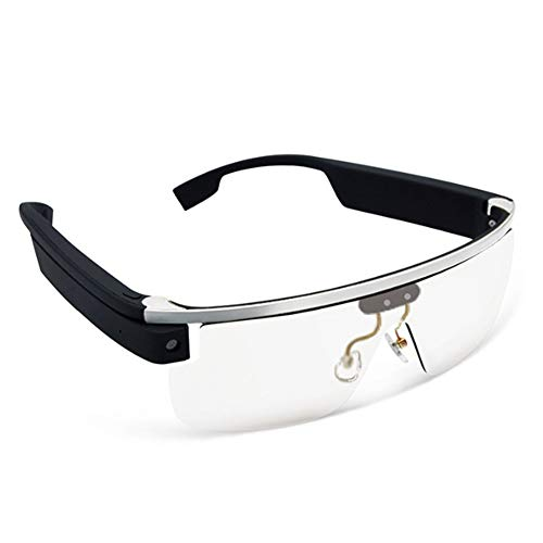YRRC Smart Glasses, Hd Outdoor Sports Voice Glasses Touch Camera Video Kamera Bluetooth WiFi Mobile Phone Live Smart Glasses,White