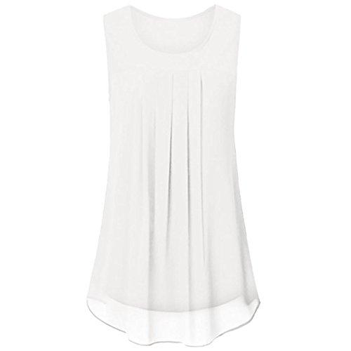 OverDose Damen Sommer Ärmellos O-Ausschnitt Casual Chiffon Solide Weste Bluse Tank Tops Camis Frauen T Shirt Tees (Weiß,EU-48/CN-XL)