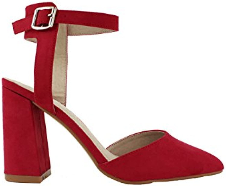 Azarey - Zapato Tacón Pico Pulsera Rojo  -