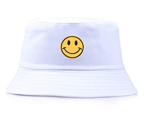 JIACHIHH Fischerhut,Lässige Stickerei Gelb Smiley Wanne Hut Frauen Männer Mode Einfach Outdoor Visor White Fisherman's Hut