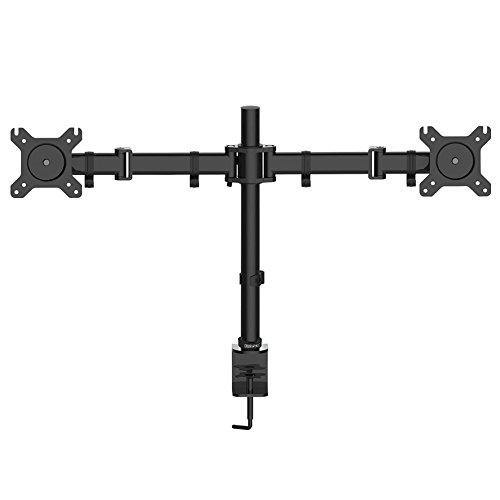 Duronic Steel DM252 Double Twin LCD LED Desk Mount Monitor Arm Stand Bracket with Tilt and Swivel + 10 Year Warranty - (Adjustable Monitor Arm: Tilt ±45°|Swivel 180°|Rotate 360°)