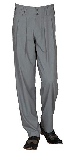 Bundfaltenhose in Grau Model Boogie Retro Vintage Stil, Business Anzughose Hose aus Baumwollmischung mit Extraweit geschnittene Beine von HK Mandel Größe 48