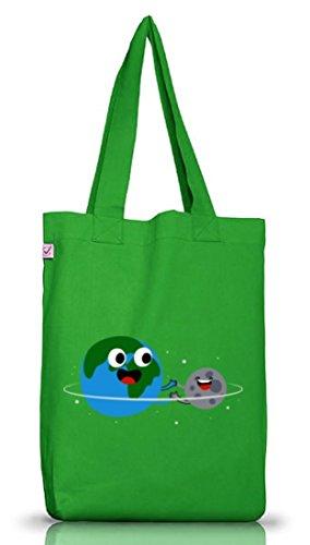 Geschenkidee Jutebeutel Stoffbeutel Earth Positive mit Planetary Friendship Motiv von ShirtStreet Kelly Green