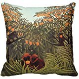 rousseau-apes-in-the-orange-grove-throw-pillow-case