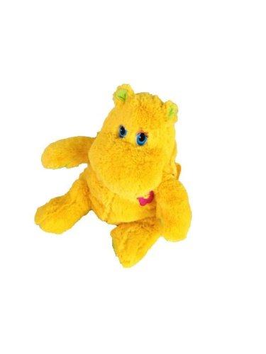 eluxe Kinderrucksack Hippo Nilpferd Rucksack gelber Plüsch 30 cm Hipporucksack Gelb Kind für Kinder Träger verstellbar (Halloween Kostüm Hippo)