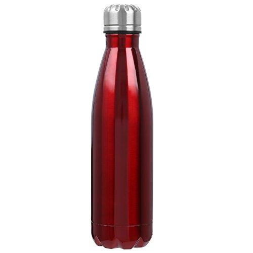 Botella De Agua, 500ml Botella de Agua de Acero Inoxidable Botella Aislada al Vacío Botella Térmica, sin BPA, para Deportes Al Aire Libre Camping Senderismo Picnic Ciclismo, Rojo