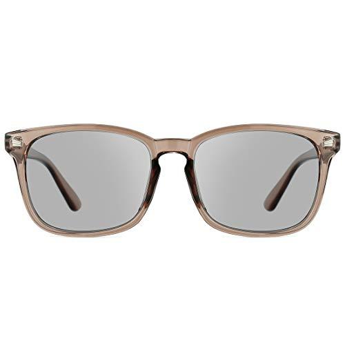 TIJN Polarisierte Sonnenbrille Quadra klassisch Mode Brillen 100% UV-Schutz für Damen Herren (Kaffee rahmen/Hellgraue linse)