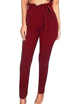 QinMM Pantalones a Cuadros de Ajuste de Volante Ajustados para Mujer Pants Cintura Alta