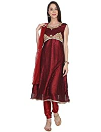 0b9c992a90 Rambha Women's Silk Georgette Heavy Embroidered Readymade Salwar Suit -  Color Maroon