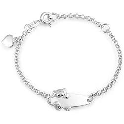 Plaque Nom Engravable Ours Id Bracelet D'Identité Pour Adolescents 925 Argent Sterling Petits Poignets 5-6 Pouce