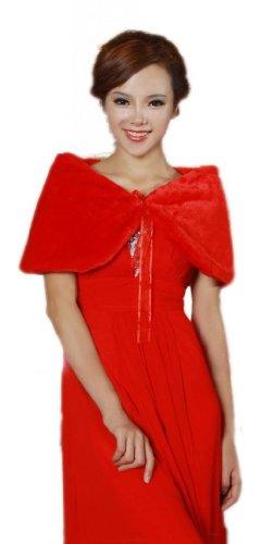 Luyan femmes mariage noces fausse fourrure ruban fermeture étole Rouge