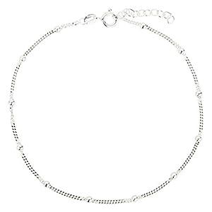 7K Fußkettchen, Fußkette, Panzerkette aus 925 Sterling Silber als Fußschmuck für Damen und Mädchen, Länge 22-25cm, Modell 24