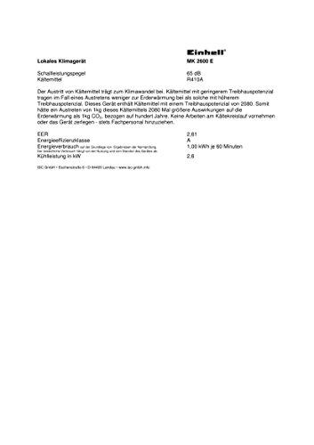 Einhell Lokales Klimagerät MK 2600 E (2600 W Kühlleistung, 375 m³/h Luftumwälzung, Temperatureinstellung, Energieklasse A) - 3
