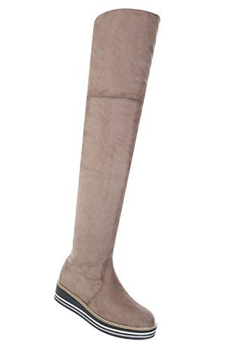 Schuhcity24 Damen Schuhe Overknee Stiefel Moderne Hellbraun 40