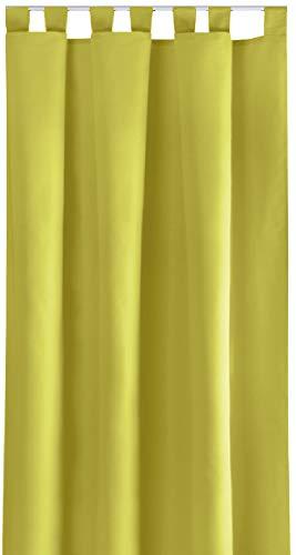 Bestlivings Blickdichte Einfarbige Gardine in 4 Vers. Ausführungen und in Vielen Farben und Größen erhältlich, Auswahl: Schlaufe - B140xL175cm, grün - apfelgrün