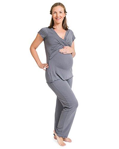 Stillpyjama - Ultra-weicher Schlafanzug fur Schwangerschaft und Stillzeit von KindRot Bravely (Schiefergrau, Small) (Damen Pj Baumwolle Pyjama)