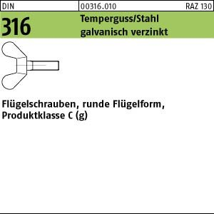 100 FLUGELSCHRAUBEN DIN 316 GT / STAHL M 6 X 16 VERZINKT