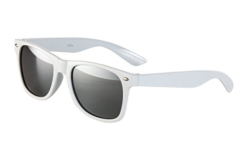 Sonnenbrille Nerdbrille Nerd Retro Look Brille Pilotenbrille Vintage Look - ca. 80 verschiedene Modelle Weiß verspiegelt