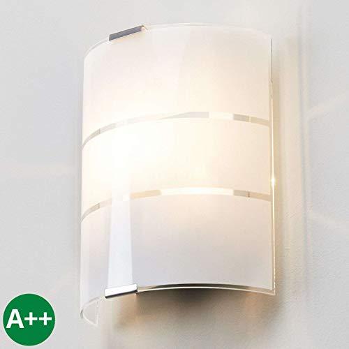 Lampenwelt Wandleuchte, Wandlampe Innen 'Vincenzo' dimmbar (Modern) in Weiß aus Glas u.a. für Wohnzimmer & Esszimmer (1 flammig, E14, A++) - Wandstrahler, Wandbeleuchtung Schlafzimmer /