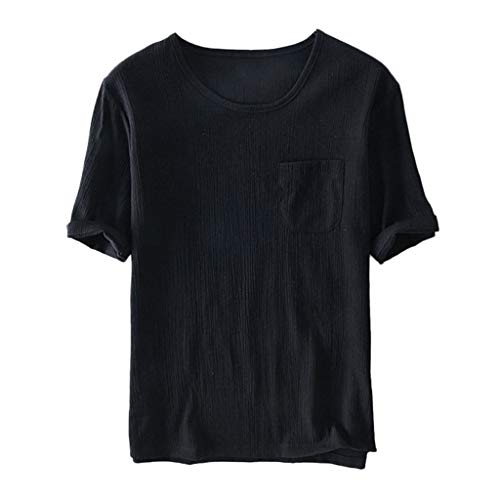 Baumwollshirt Dasongff Herren Leinenshirt Casual T-Shirt Weiche Rundhals Kurzarmshirt Basic Tee Lose Sommertop Hemd Männer Freizeit Shirt -