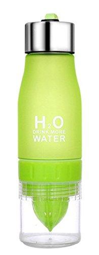 iDeeco Bouteille Detox à Infusion avec Presse Citron 500 ml Dose Quotidien Bouteille Haute Qualité (Vert, 750 ml)