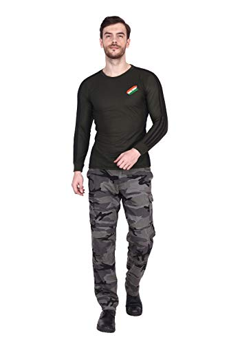 Indian Army T-Shirt Indian Flag On Cheast Commando Print on Back Side