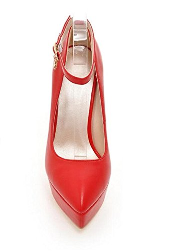 Scarpe impermeabili tallonati della piattaforma - Women 's Ufficio di nozze da tennis scarpe da donna partito intelligente Fibbia sottile con alta red