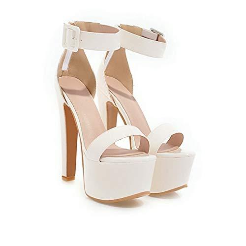 MENGLTX High Heels Sandalen Damen Schuhe Sandalen Damen Big Size 33-44 Sandalen Damen Schuhe High Heel Damen Pumps 3 White - 3 Heel-schuhe