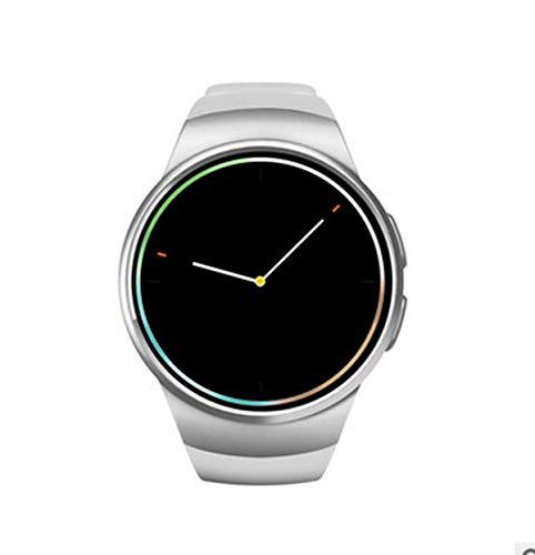 ZNMJW Intelligente Uhr,Bluetooth-Karte Anruf Herzfrequenzinformationen drücken 1,3 Millionen Pixel, 1,3-Zoll-Silikonband-Silver