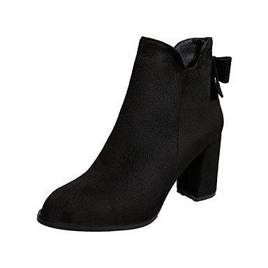 RTRY Scarpe donna pu cadere la moda Stivali Stivali Chunky tallone punta tonda Bowknot per Casual Nero Marrone US6 / EU36 / UK4 / CN36