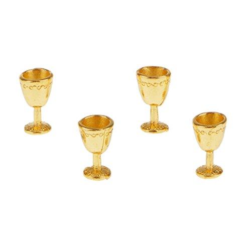 4 Gläser Glas Weinglas Kelch Becher Weinbecher Küche Miniatur für - Puppenstube Küche - Gold, /