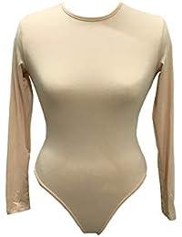 Damen Stringbody Langarmbody Slim Bodysuit Strecken Overall Strampler Jumpsuit