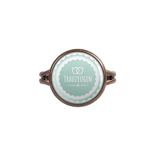 Mylery Ring mit Motiv Trau-Zeugin Ringe Türkis bronze 14mm