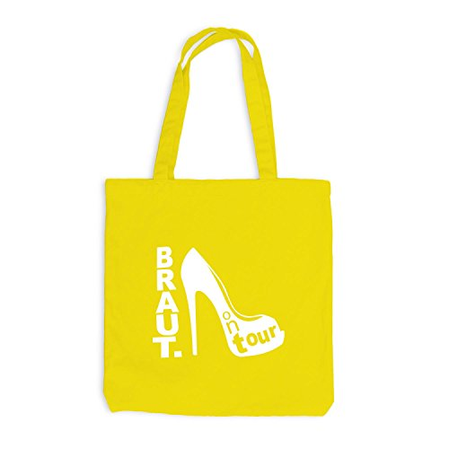 Jutebeutel - Junggesellen BRAUT Shoe Tour - JGA Style Gelb