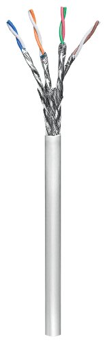 Wentronic CAT 6 Verlegekabel (4x 2x AWG23/1, geflechtgeschirmt) grau (Cat 6 Geschirmt Solid)