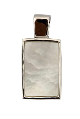 Sterling Silver Large White Mother of Pearl Rectangular Pendant on an 18